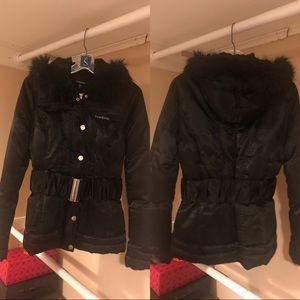 Black bebe puffer/fur hoodie bebe winter jacket😍